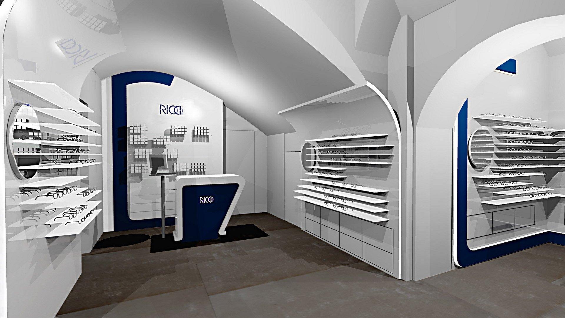 La progettazione dellarredamento del negozio di Ottica Ricci a Siena ...
