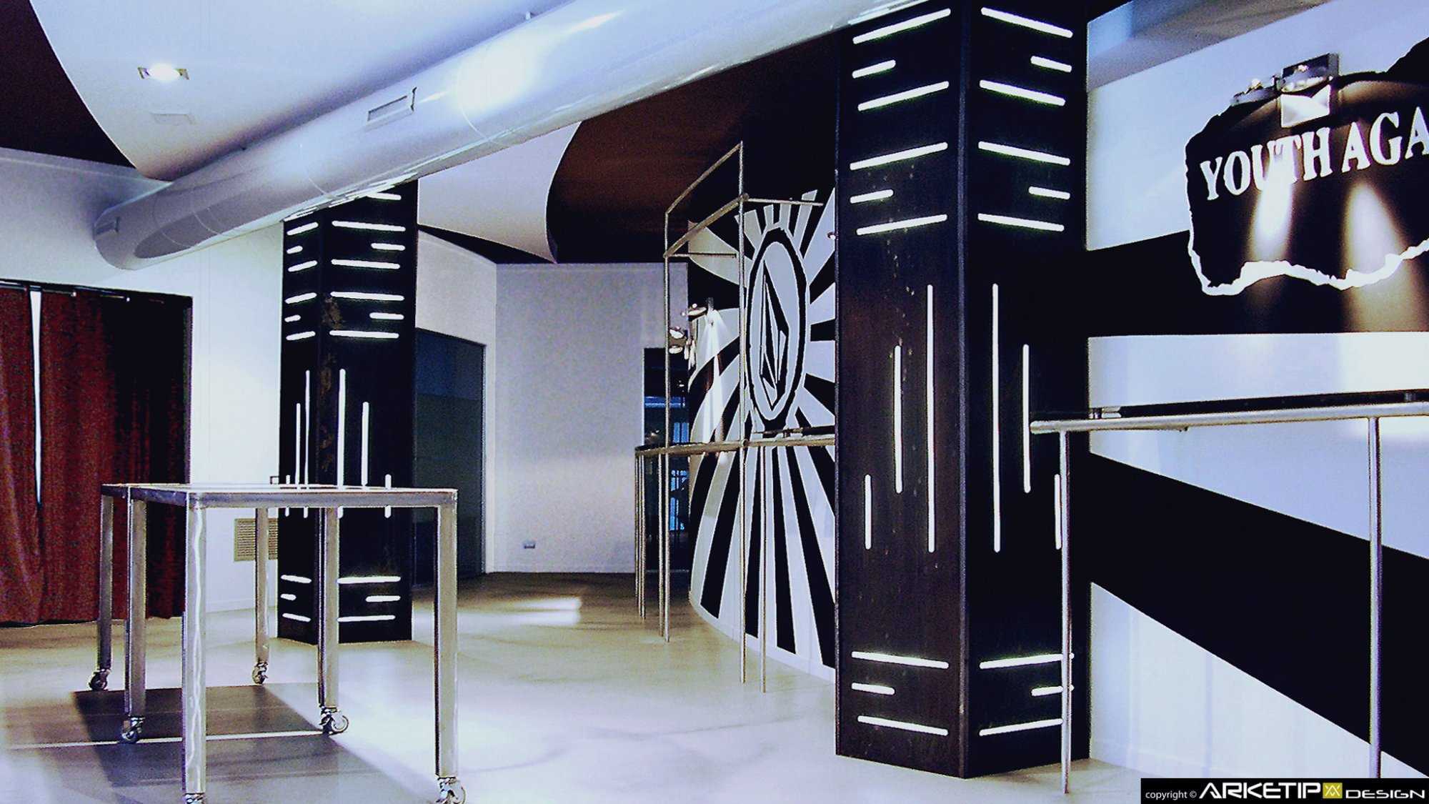 Arredamento showroom volcom store negozio milano for Showroom milano arredamento