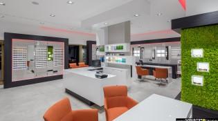 arredamento negozio ottica Colombo, Bollate, realizzato da Arketipo Design