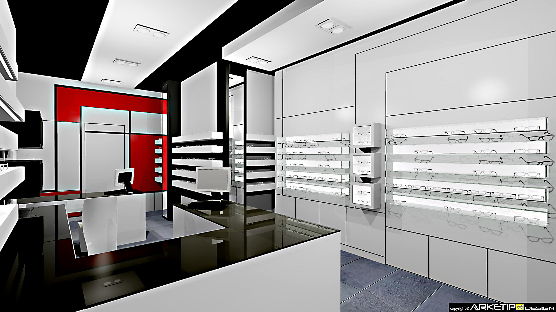 Arredamento ottica del sorbo negozio ottica angri sa for Progetti di arredamento