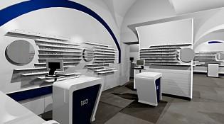 Progettazione arredamento su misura negozio Ottica Ricci, Siena (SI)